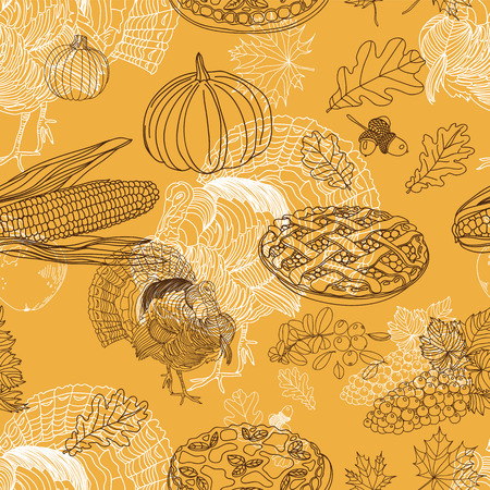retro pattern: Vector seamless Thanksgiving pattern. Repeating abstract background.