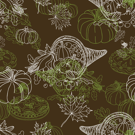 cranberry illustration: Vector seamless Thanksgiving pattern. Repeating abstract background.