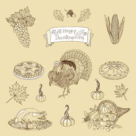 vector set: Vintage vector illustration set of Thanksgiving icons. Hand drawn illustration.