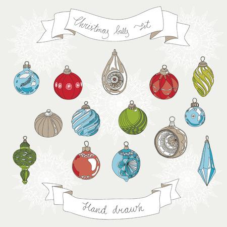 moños navideños: Mano dibujado conjunto de bolas de Navidad.