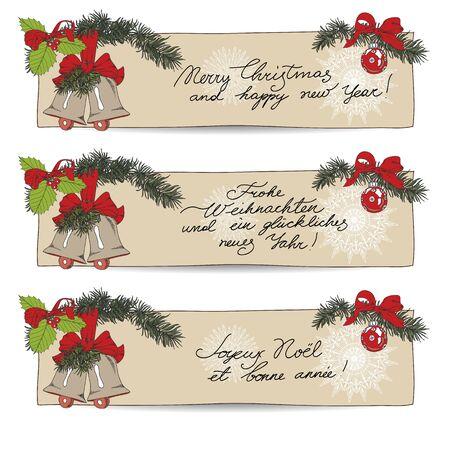 christmas vintage: Hand drawn vintage Christmas banners Set.