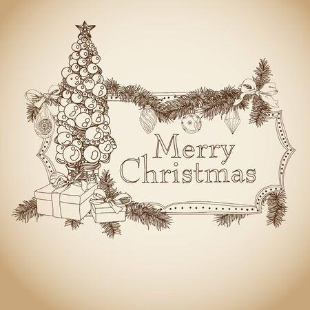 vintage drawing: Hand drawn Christmas banners.  Illustration