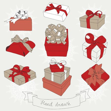 ribbons and bows: Hand drawn set of gift boxes with bows and ribbons.  Illustration