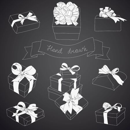 ribbons and bows: Hand drawn set of gift boxes with bows and ribbons.