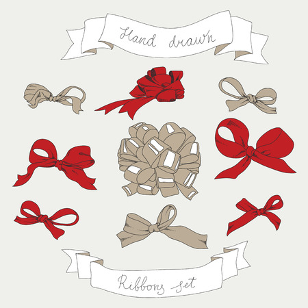 ribbons and bows: Hand drawn set of bows and ribbons.