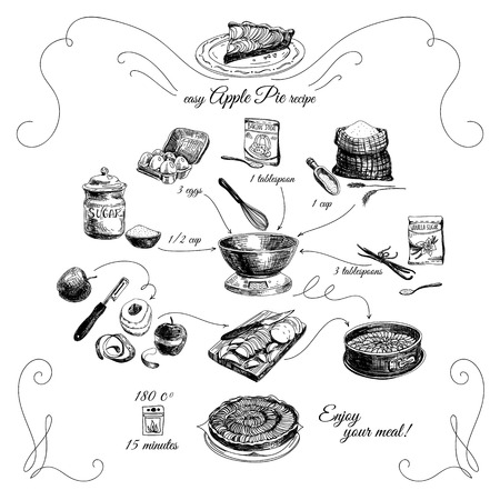sugar powder: Simple Apple pie recipe. Step by step.Hand drawn illustration with apples, eggs, flour, sugar. Homemade pie, dessert.