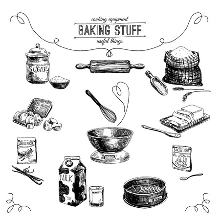 baking dish: Vector hand drawn set. Vintage Illustration with milk, sugar, flour, vanilla, eggs, mixer, baking powder, rolling, whisk, spoon vanilla bean, butter and kitchen dish.