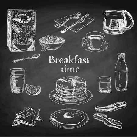 breakfast eggs: Vector breakfast hand drawn set. Vintage illustration. Chalkboard.