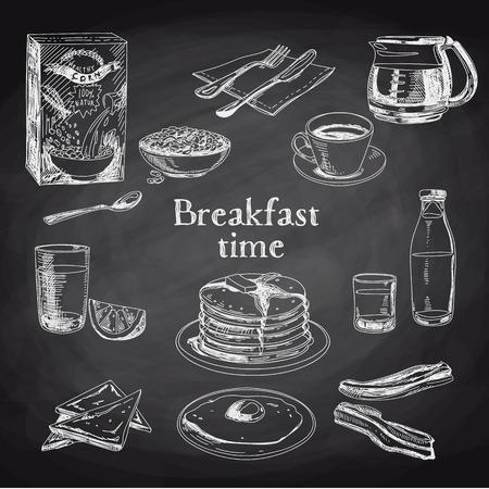 Wektor śniadanie ręcznie zestawu. Archiwalne ilustracji. Chalkboard.