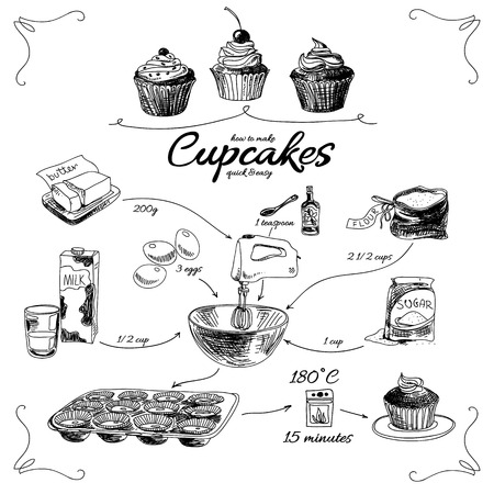 bake: Simple cupcake recipe. Step by step. Hand drawn vector illustration.