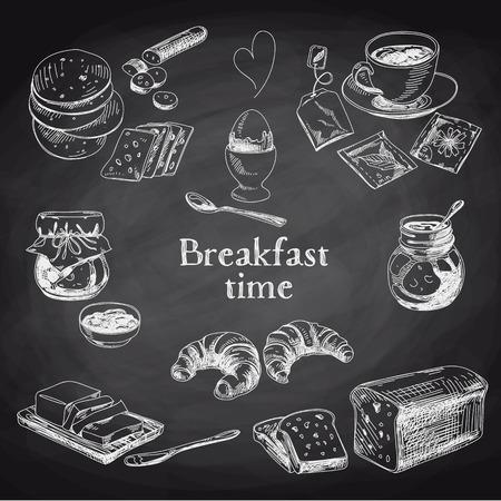 mermelada: Desayuno vectorial Conjunto drenado mano. Ilustración de la vendimia. Pizarra.