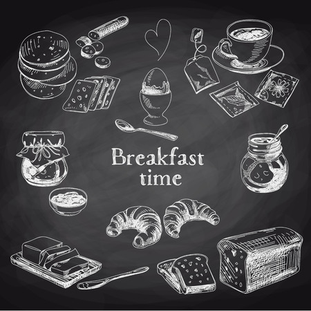 croissant: Vector breakfast hand drawn set. Vintage illustration. Chalkboard.