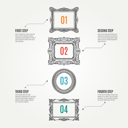 Vector hand drawn infographic elements with picture frames.