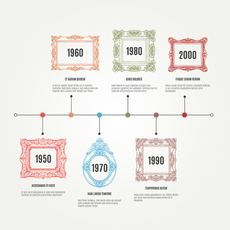 time line: Vector hand drawn infographic elements with picture frames. Time line