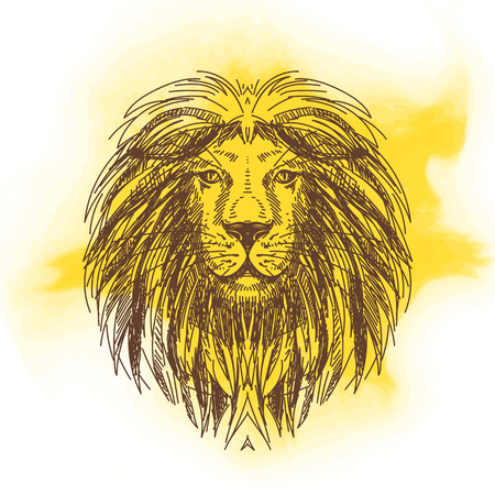 """wild life"": Vector hand drawn illustration with lion head. Wild Animal. Wild life. Illustration"