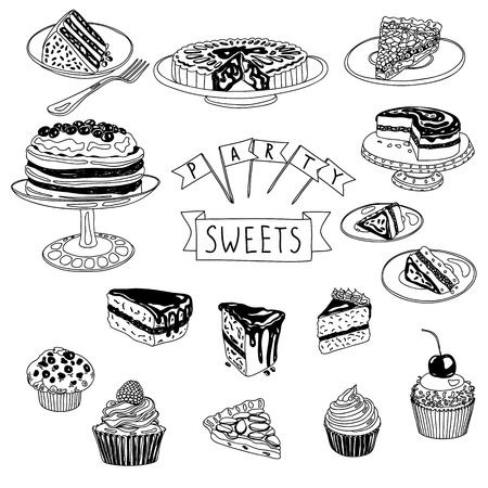 brownie: Vector hand drawn set with cakes and sweets. Sweets illustration colletion.