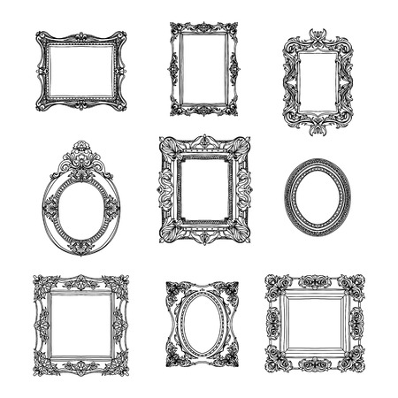oval: Vector vintage hand drawn set with picture frames. Retro illustration. Sketch