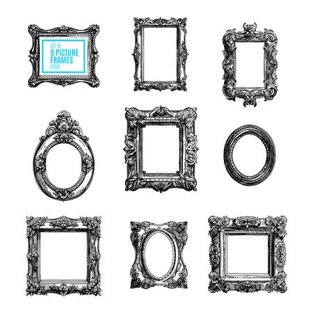marcos cuadros: vector dibujado a mano conjunto con marcos de cuadros. Bosquejado ilustración collektion.