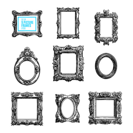 baroque picture frame: Vector hand drawn set with picture frames. Sketched illustration collektion.