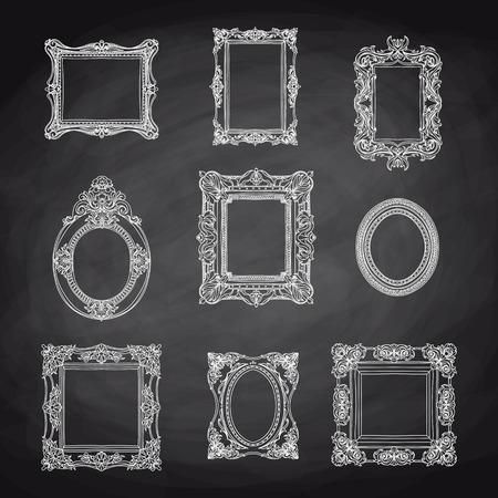 marcos cuadros: Vector dibujado mano Vintage conjunto con marcos de cuadros. Retro ilustración. Bosquejo. pizarra Vectores
