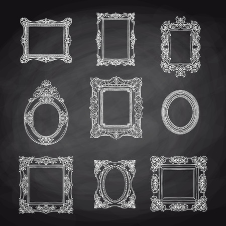 pictures: Vector vintage hand drawn set with picture frames. Retro illustration. Sketch. Chalkboard
