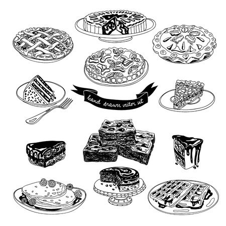 pie: Vector hand drawn set with cakes and sweets. Sweets illustration colletion.