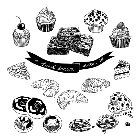 Vector hand drawn set with cakes and sweets. Sweets illustration colletion.