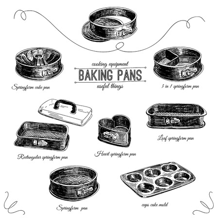 kitchen illustration: Vector hand drawn set with bakery pans. Vintage illustration. Baking Tool Icons Set. Retro collection with Heart Spring form Pan, Cake Pan with Two Bottoms and 3 in 1 Spring form Pan.