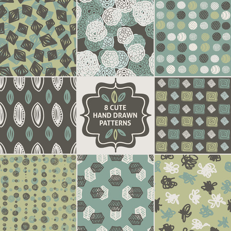collection: Vector seamless simple pattern set. Modern stylish texture. Repeating abstract background.