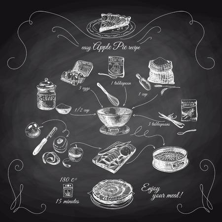 pie de manzana: Simple receta de la empanada de Apple. Paso a step.Hand ilustración dibujados con manzanas, huevos, harina, azúcar. Empanada hecha en casa, postre. Pizarra. Vectores