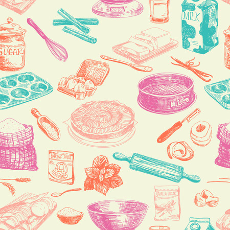 baking dish: Vector seamless patten. Vintage Illustration with milk, sugar, flour, vanilla, eggs, mixer, baking powder, rolling, whisk, spoon vanilla bean, butter and kitchen dish.
