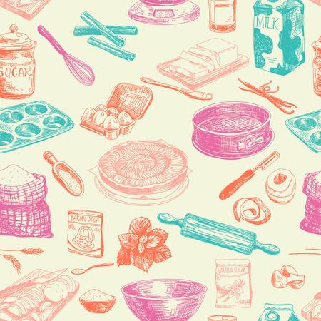 utensil: Vector seamless patten. Vintage Illustration with milk, sugar, flour, vanilla, eggs, mixer, baking powder, rolling, whisk, spoon vanilla bean, butter and kitchen dish.