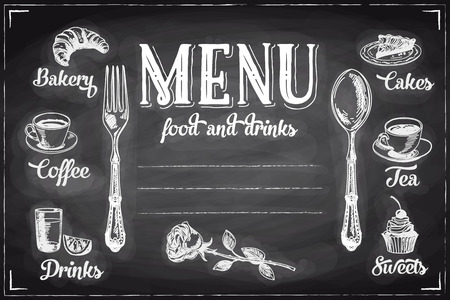 Vector hand drawn breakfast and branch background on chalkboard. Menu illustration. Çizim