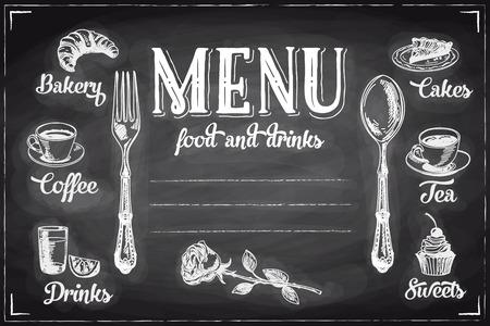 chalkboard: Vector hand drawn breakfast and branch background on chalkboard. Menu illustration. Illustration