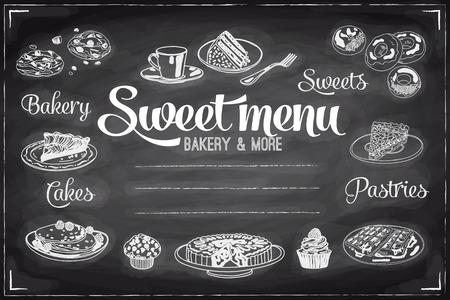 ベクトル手描きの朝食とブランチ背景黒板に。メニューの図。