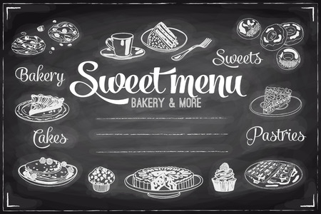 dessert: Vector hand drawn breakfast and branch background on chalkboard. Menu illustration. Illustration