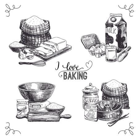 Vector dibujado a mano productos de panadería establecidos. Ilustración de la vendimia con la leche, el azúcar, la harina, la vainilla, los huevos, el mezclador, el polvo de hornear, laminados, bata, cuchara de vainilla, la mantequilla y el plato de la cocina. Ilustración de vector