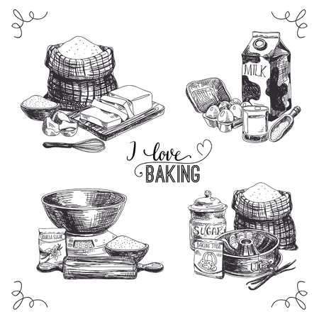 baking dish: Vector hand drawn set bakery goods. Vintage Illustration with milk, sugar, flour, vanilla, eggs, mixer, baking powder, rolling, whisk, spoon vanilla bean, butter and kitchen dish. Illustration