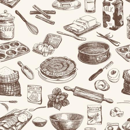 ilustracion: Vector patrón de panadería sin fisuras. Textura con estilo moderno. Repetición de resumen de antecedentes.
