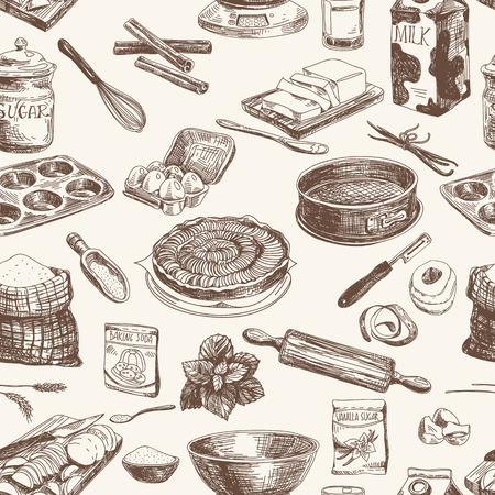 dessin: Vector seamless boulangerie. Texture moderne et �l�gant. R�p�tition abstrait. Illustration