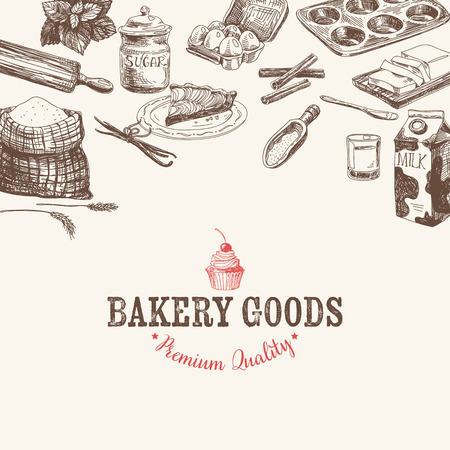 baking dish: Vector bakery retro background. Vintage Illustration with milk, sugar, flour, vanilla, eggs, mixer, baking powder, rolling, whisk, spoon vanilla bean, butter and kitchen dish. Illustration