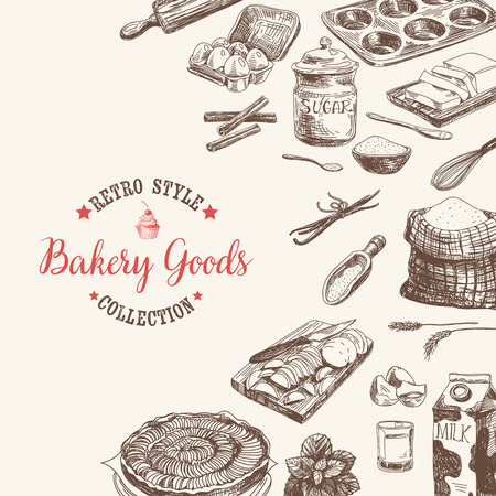 Vector bakery retro background. Vintage Illustration with milk, sugar, flour, vanilla, eggs, mixer, baking powder, rolling, whisk, spoon vanilla bean, butter and kitchen dish. Stock Illustratie