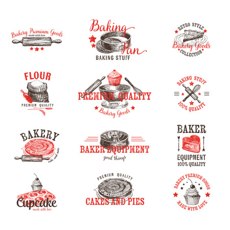 bread: Vector set of bakery logos, labels, badges and design elements. Retro.Vintage.