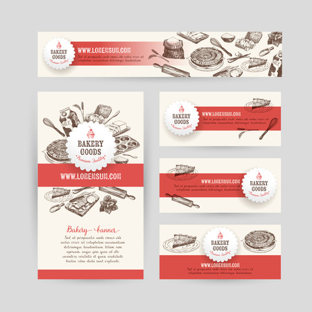 Corporate identity business set design with baking and cooking tools. Vintage background. Vector illustration.Hand drawn retro illustration. Sketch.