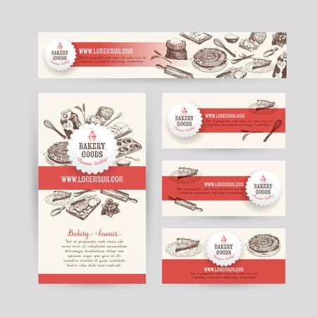 panadero: Negocio La identidad corporativa fijó diseño con herramientas para hornear y cocinar. Fondo de la vendimia. Vector illustration.Hand dibujado ilustración retro. Sketch.