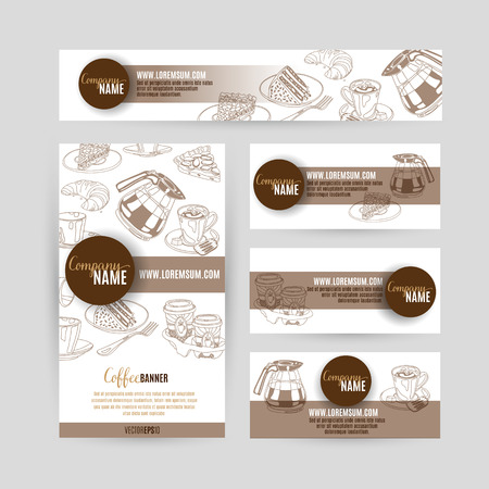 concept design: Corporate identity business set design with coffee and sweets. Abstract background. Vector illustration.Hand drawn illustration. Sketch.