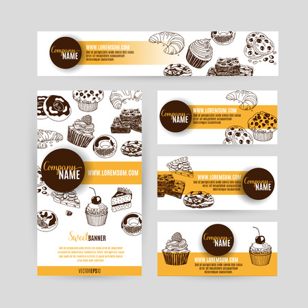 cup cakes: Corporate identity business set design with sweets and cakes. Abstract background. Vector illustration.Hand drawn illustration. Sketch.