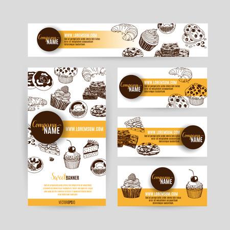 CAKE: Negocio identidad corporativa establece el diseño con los dulces y pasteles. Resumen de antecedentes. Vector illustration.Hand dibuja ilustración. Sketch.