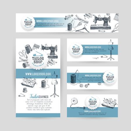 コーポレート ・ アイデンティティのビジネスは、仕立て屋と裁縫用具のデザインを設定します。ヴィンテージ背景。ベクトルの図。手には、レトロ