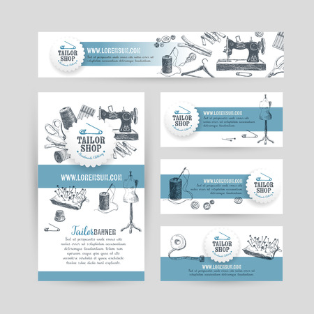 banner craft: Corporate identity business set design with tailor and sewing tools. Vintage background. Vector illustration.Hand drawn retro illustration. Sketch. Illustration